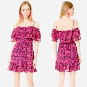 WAYF Daria berry floral ruffle tier mini dress XS